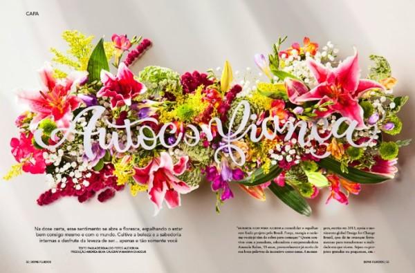 Autoconfiança é a criação de Fernanda Didini com o lettering feito de papel sobre flores de Marina Chaccur