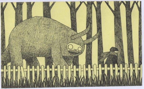 Don Kenn e seus desenhos em post it