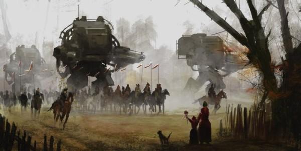 O mundo retrô futurista cheio de robôs gigantes de Jakub Rozalski