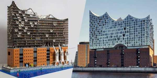 Uma Versão da Elbphilharmonie de Hamburgo feita totalmente de Lego
