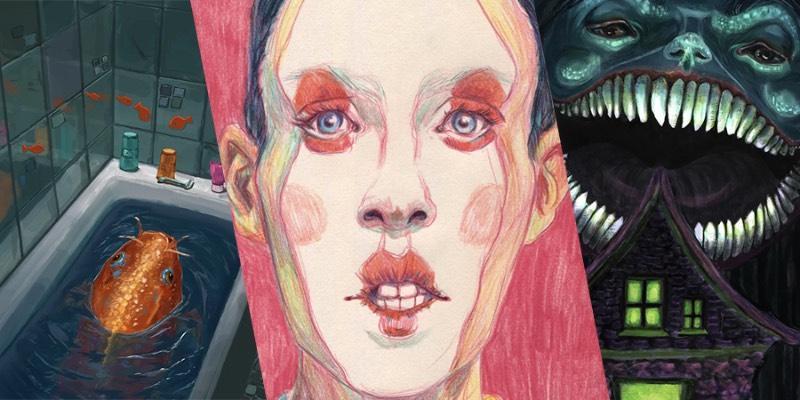 Eileen Marie Tretter é uma ilustradora freelancer que, atualmente, vive e trabalha aqui em Berlim. Seus trabalhos são inspirados pela natureza, principalmente a vida sub aquática, psicologia, cultura jovem e encontros sociais. É assim que surgem as ideias para as pinturas e desenhos que você vai poder ver logo abaixo.