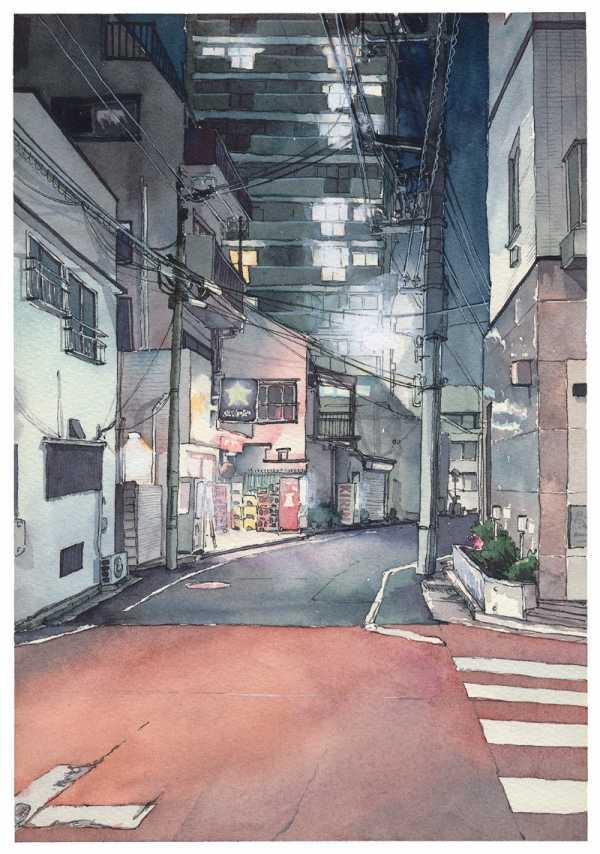 As Aquarelas de uma Tóquio Noturna de Mateusz Urbanowicz