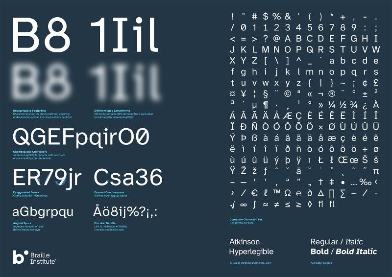 A Atkinson Hyperlegible é um dos projetos mais interessantes que me deparei ultimamente por misturar tipografia com acessibilidade de um jeito bem especial. O projeto foi desenvolvido pelo pessoal da em colaboração com o Braille Institute e tem como foco ajudar aqueles que sofrem com deficiência visual.