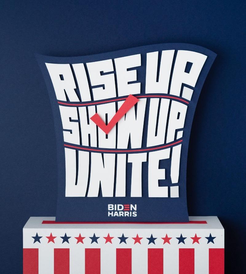 Seguindo a iniciativa da designer Jessica Hische, um grupo de artistas e designers norte-americanos estão produzindo uma série de posters para a campanha presidencial de 2020. A ideia aqui é chamar a atenção para a candidatura democrata de Joe Biden e Kamala Harris e pelo fim do mandato de Donald Trump.