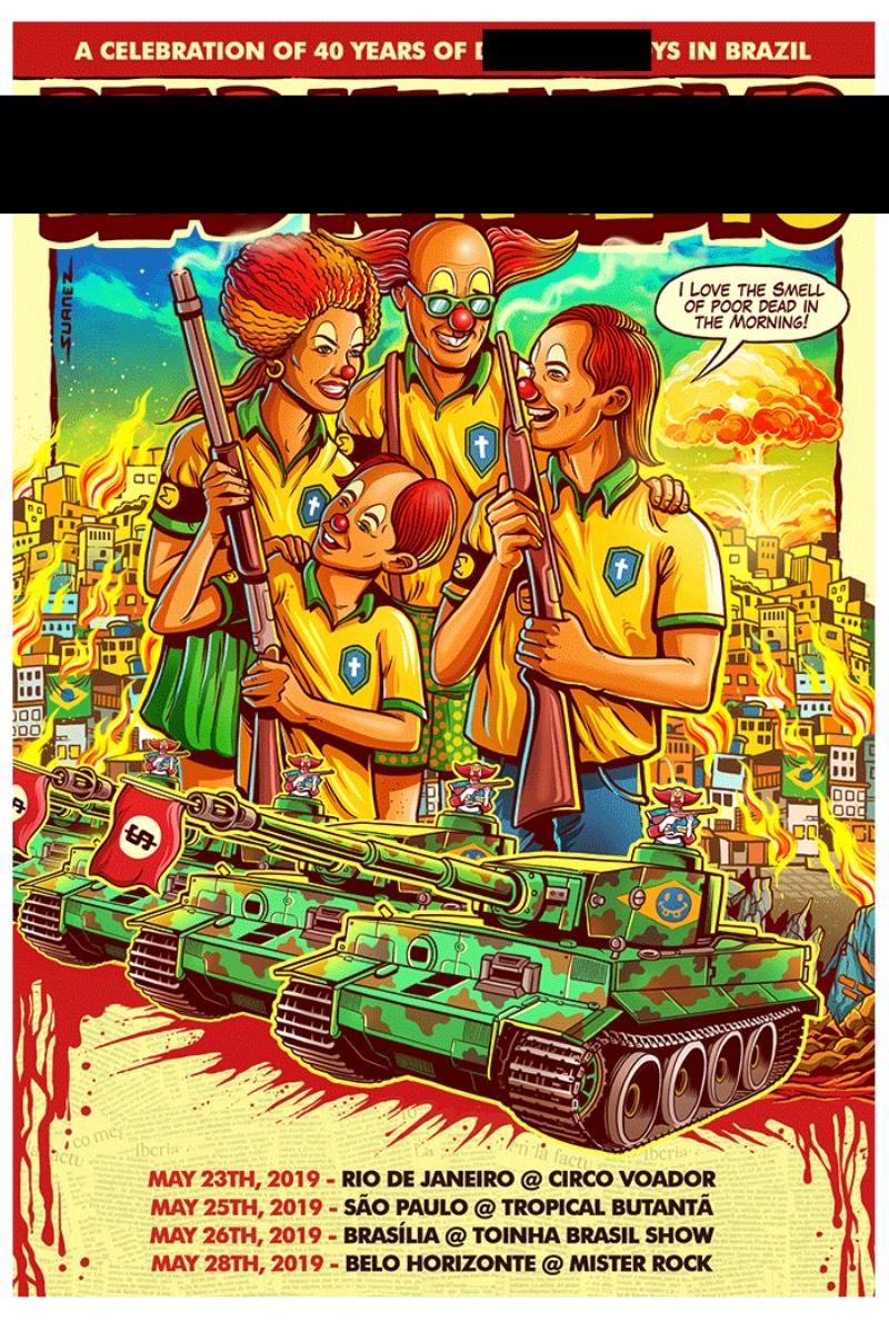 Conheci o trabalho do ilustrador Cristiano Suarez em Abril de 2019, quando me deparei com a polêmica por trás de um poster que ele fez para a banda Dead Kennedys. O projeto tinha me capturado a atenção quando vi ele antes de todos os problemas e achei ainda mais interessante quando toda aquela bagunça aconteceu.